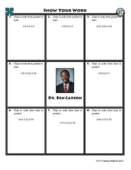 Person Puzzle -- Ordering Decimals - Ben Carson Worksheet