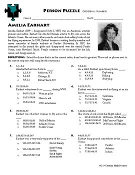 Person Puzzle - Ordering Numbers - Amelia Earhart Worksheet