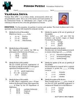 Person Puzzle - Parabola Properties -  Vandana Shiva Worksheet