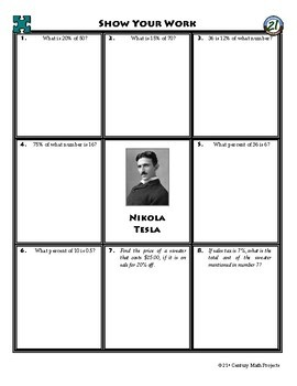 Person Puzzle -- Percent of a Number - Nikola Tesla Worksheet