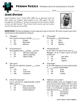 Person Puzzle Probability Of Compound Events Jesse Owens Worksheet