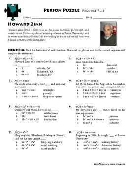 Person Puzzle -- Product Rule - Howard Zinn Worksheet