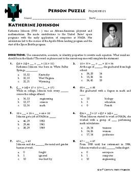 Person Puzzle - Properties - Katherine Johnson Worksheet