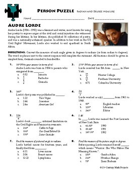 Person Puzzle -- Radian and Degree Measure - Audre Lorde Worksheet