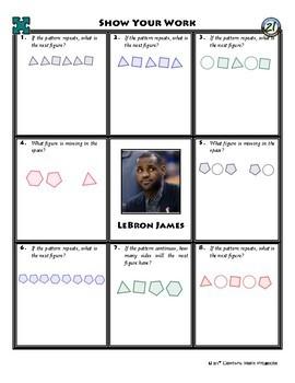 Person Puzzle - Shape Patterns - LeBron James Worksheet