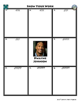 Person Puzzle - Simplifying Square Roots - Dwayne Johnson Worksheet