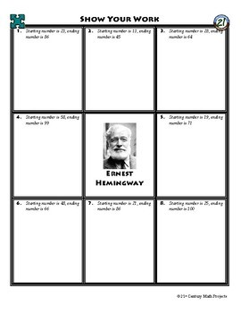 Person Puzzle - Skip Counting - Ernest  Hemingway Worksheet