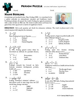 Person Puzzle Rational Equations Hans Rosling Worksheet Tpt
