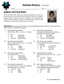 Person Puzzle -- Symmetry - Abdul Sattar Edhi Worksheet