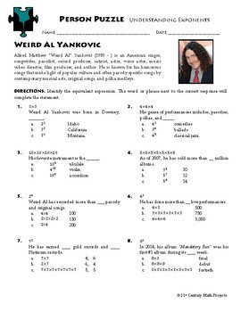 Person Puzzle - Understanding Exponents - Weird Al Yankovic Worksheet