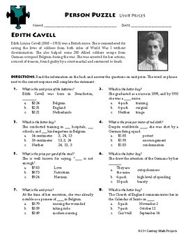 Person Puzzle -- Unit Prices - Edith Cavell Worksheet