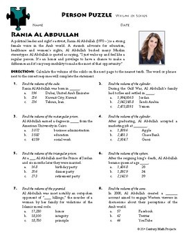 Person Puzzle -- Volume of Solids - Rania Al Abdullah Worksheet