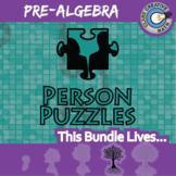 Person Puzzles - PRE-ALGEBRA BUNDLE - 88+ Topics, 88+ Worksheets