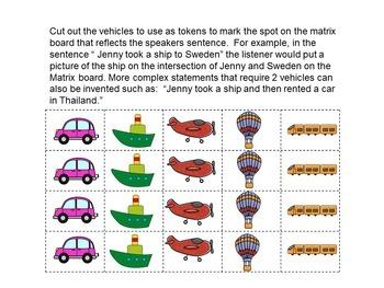 Person + Vehicle + Destination Matrix Game