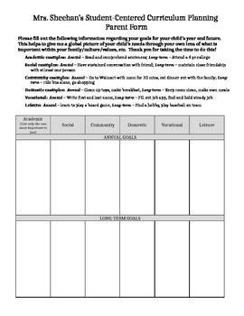 Person-centered planning form student information sheet