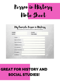Person in History Note Sheet