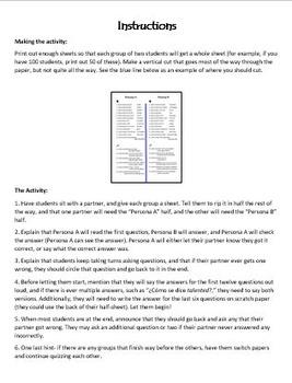 Persona A/Persona B Review of Realidades 1B