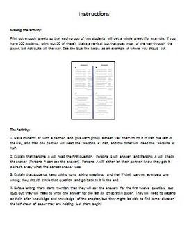 Persona A/Persona B Activity to Review Realidades 1A Vocabulary (Spanish 2)