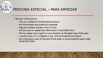 Persona Especial Realidades 1 Para Empezar - Beginning of the Year