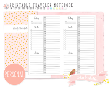 Personal 12 Hour Daily Schedule by Hour Traveler Notebook Refill