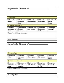 Personal Behavior Sheet