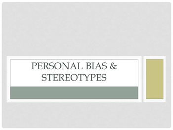 Personal Bias & Stereotypes Lesson (Career Management)