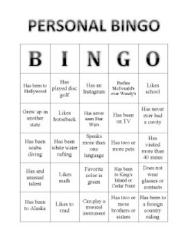 Personal Bingo | Get to Know You Game | First Days Activity