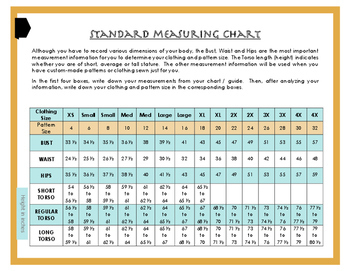 Personal Body Measurement Guide / Chart for Sewing