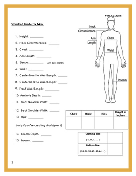 personal body measurement guide chart for sewing by the fcs shoppe. Black Bedroom Furniture Sets. Home Design Ideas