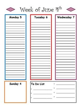 Personal Calendar June 2017 - 2018