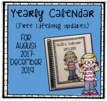 Personal Calendar for August 2017 - December 2019 with Notes and Bill Sections