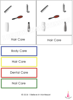 Personal Care Products Montessori Sorting Activity
