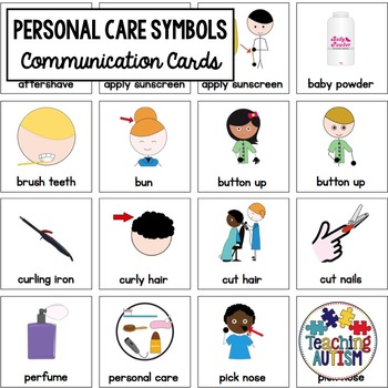 Personal Care Symbol Support Cards - Autism