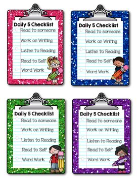 Personal Daily 5 Checklists