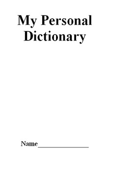 Personal Dictionary Foldable
