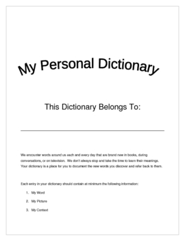 Personal Dictionary Student Template