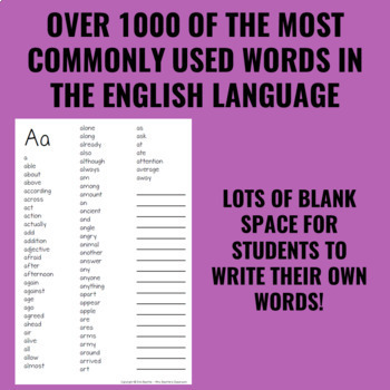 Personal Student Dictionary (Upper Grades) - Dolch & Fry Word Lists Plus Extras