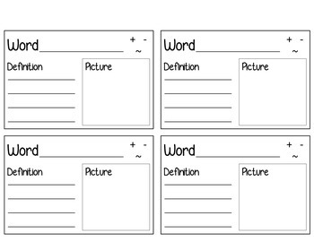 Personal Dictionary-Word Wall List and Vocabulary Cards