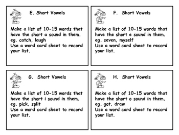 Personal Dictionary Word Work Center