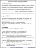 Personal Essay (Mock) Assignment Desk Student Writing Activity