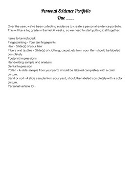 Personal Evidence Portfolio Assignment for Forensic Science