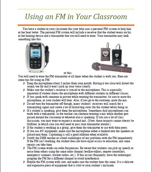 Personal FM Tip Sheet for Teachers, Therapists, and Parents