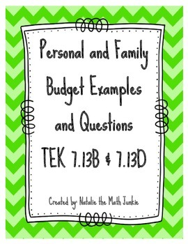 Personal & Family Budget and Expense Questions, TEK 7.13B, 7.13D
