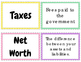 Personal & Family Finance Vocab Matching Cards