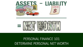 Personal Finance 101:  Determine Your Personal Net Worth Lesson