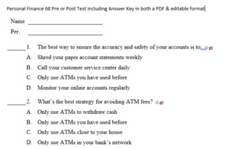 Personal Finance 68 Pre or Post Test incl Answer Key in both a PDF & editable