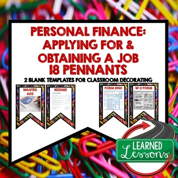 Personal Finance APPLYING FOR A JOB Word Wall Pennants (Economics)