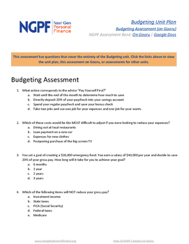 Personal Finance Assessment: Budgeting Unit Test