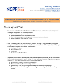 Personal Finance Assessment: Checking Unit Test