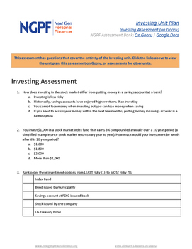 Personal Finance Assessment: Investing